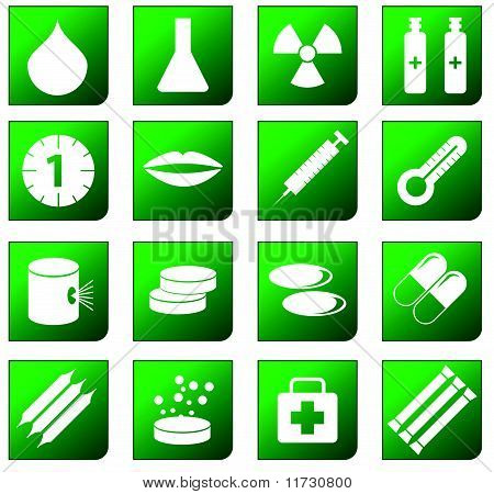 Green Healthcare and Pharma icons