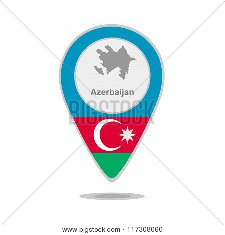 A pointer with map and flag of Azerbaijan