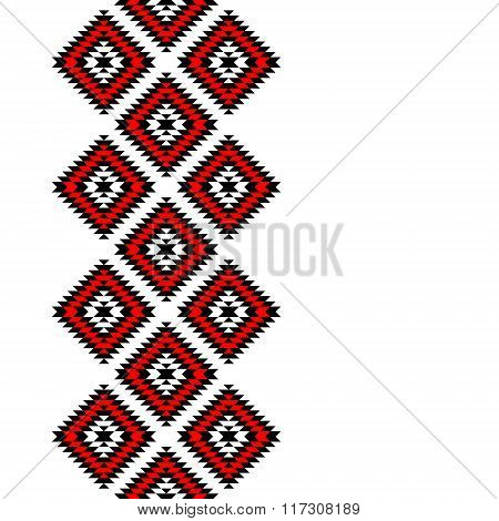 Black red and white aztec ornaments geometric ethnic seamless border, vector