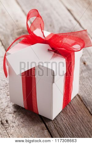 Valentines day gift box on wooden table