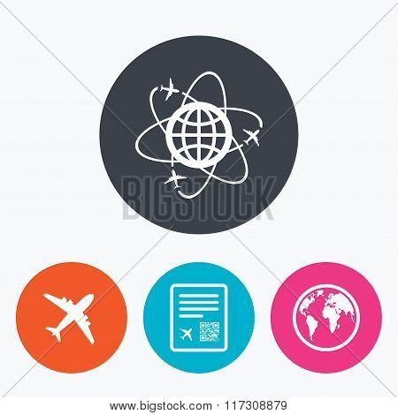 Airplane icons. World globe symbol.
