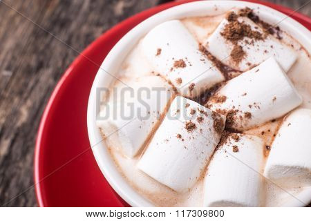 Close Up Image Of Hot Chocolate With Marshmallow