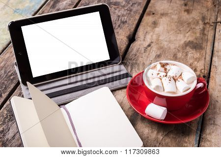 Mock-up With Tablet Pc, Notebook And Cup Of Cocoa