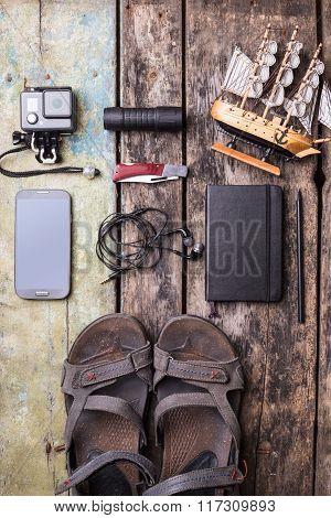 Men's Travelling Stuff Mock Up On Wood Background