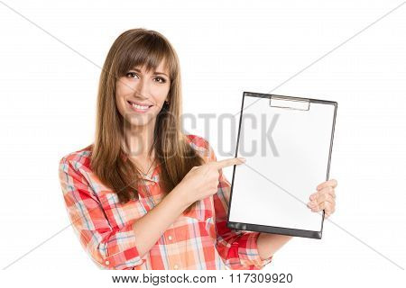 Young Woman Holding Paper Sheet Isolated On White