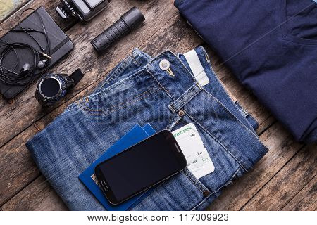Travel Stuff With Smartphone And Smartwatch