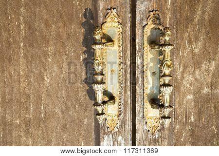 Lentate Abstract   Rusty Brass Brown Knocker In   Door