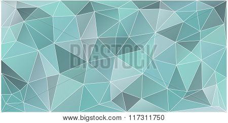 Abstract Blue And Green Poly Texture, Vector Polygonal Background