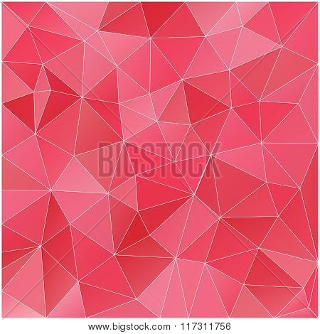 Abstract Red And Pink Color Poly Texture, Vector Polygonal Background