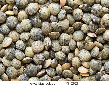 Dried French Green Puy Lentil Food Background