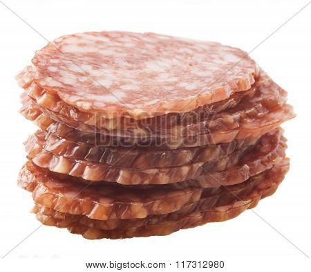 sliced salami isolated on white