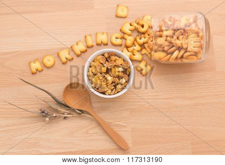 Set A Healthy Breakfast Arrange To Have Your Health Benefits Every Morning On The Wooden Floor.