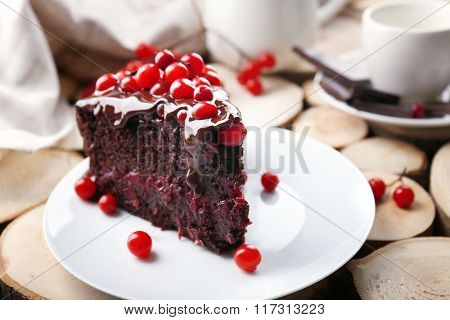 Piece of chocolate cake with cranberries on wooden background, closeup