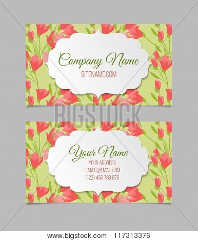 Beautiful floral business cards