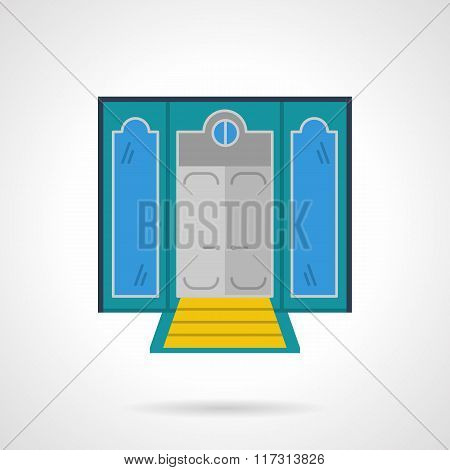 Hotel entrance flat color vector icon