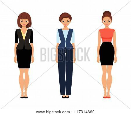 Three Business Women In Office Clothes