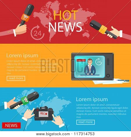 World News Banners Global Online Telecommunications Tv Radio Live Vector Illustration