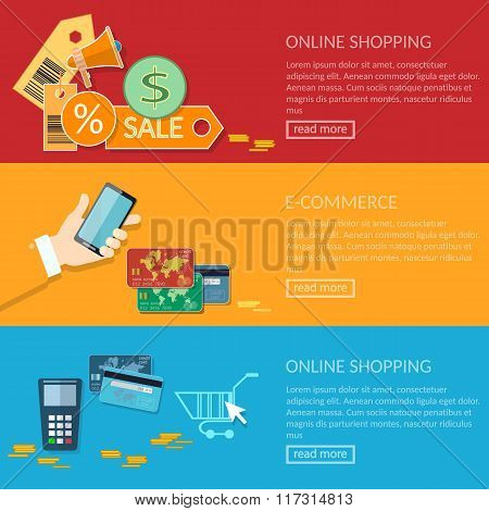 Online Shopping Banners E-commerce Transactions Processing Of Mobile Payments From Credit Card
