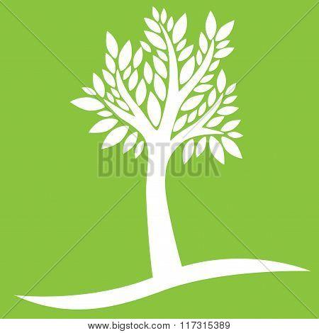 White tree on green background
