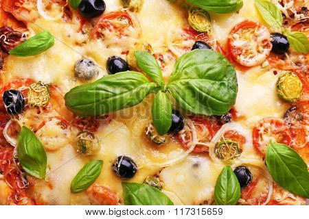Delicious fresh pizza closeup