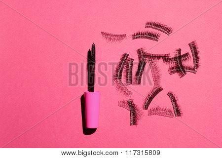 false eyelashes and mascara. advertising cosmetic set