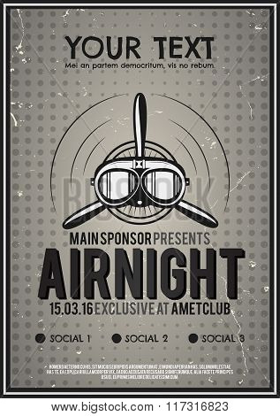 Party Leaflet, airplane brochure, cover, club night page layout template. Halftone dotted design, re