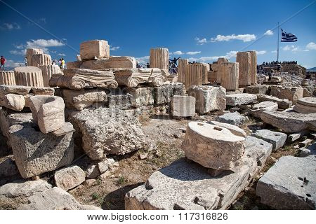 Ancient archaeological finds in Acropolis Athens Greece