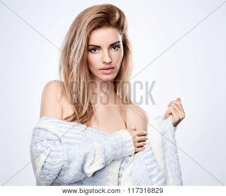 Beauty portrait woman,stylish warm knitted sweater