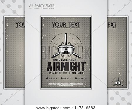 Party Leaflet, airplane brochures, cover, club night page layout templates. Halftone dotted design,