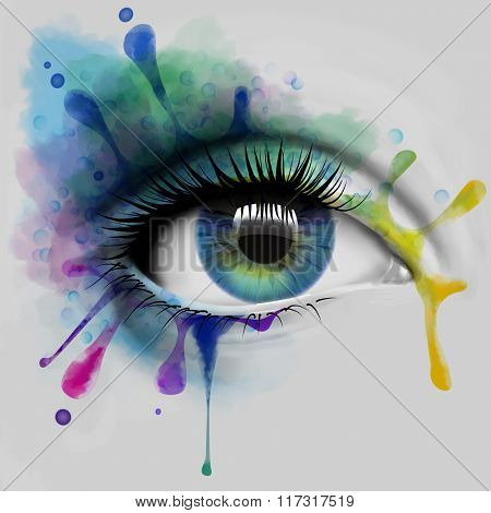 Colorful eye with ink splatters, illustration