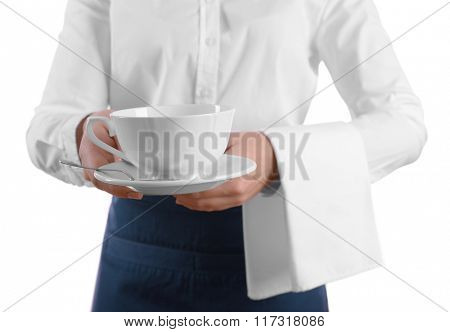 Waiter with cup of tea on white background