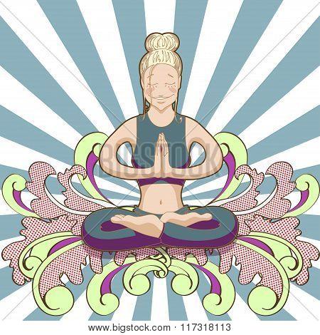 Smiling hipster woman in yoga lotus pose
