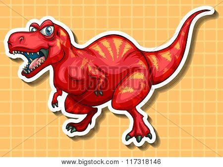 Red dinosaur with sharp teeth illustration