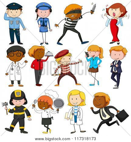 People with different occupations illustration
