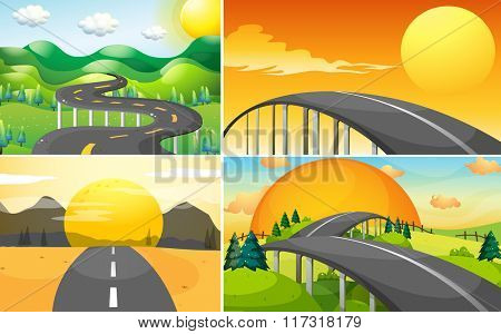 Four scenes of road to the countryside illustration