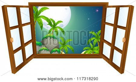 Window view with mountain at night illustration