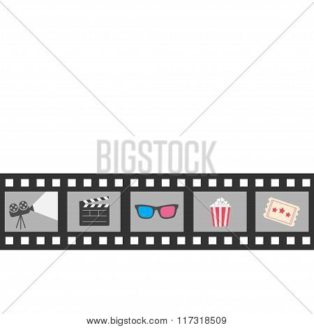 Film Strip Icon Set. Popcorn, Clapper Board, 3D Glasses, Ticket, Projector. Cinema Movie Night.  Iso