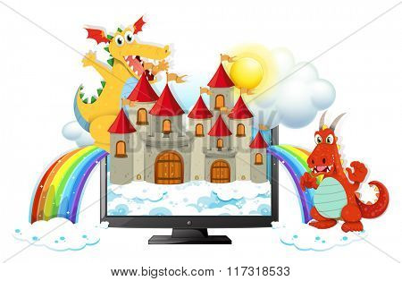 Dragons and castle on computer screen illustration