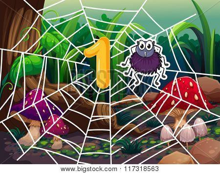 Number one and one spider on web illustration