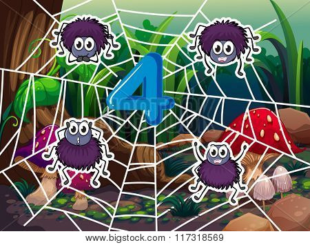Number four and four spiders on web illustration
