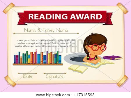Reading award template with girl reading illustration