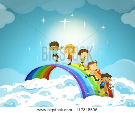 Children standing over the rainbow illustration