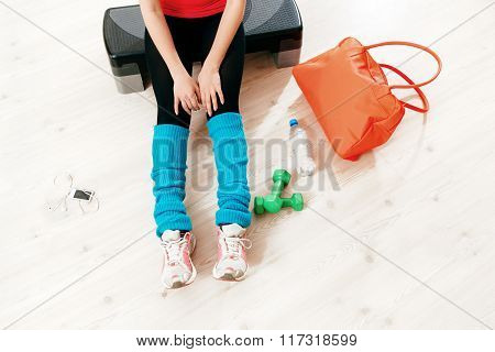 athlete resting after an  workout. fitness set