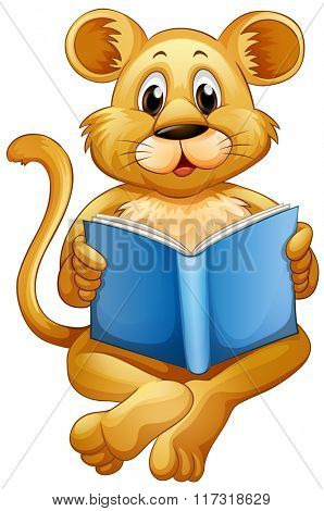 Lion cub reading blue book illustration