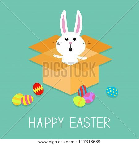 Happy Easter. Cute Bunny Rabbit And Eggs. Open Paper Cardboard Package Gift Box. Flat Design.