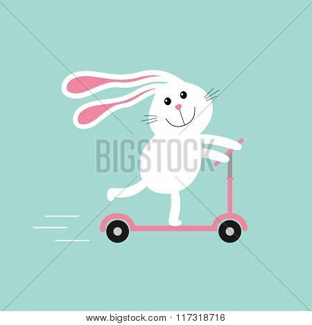 Cute Cartoon Rabbit Hare Riding A Kick Scooter. Speed Line. Baby Background. Flat Design.