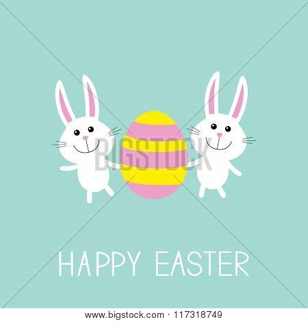 Happy Easter. Two Bunny Rabbit And Striped Egg. Flat Design.