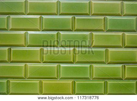 Texture, pattern, background, wallpaper of green clinker bricks/tiles