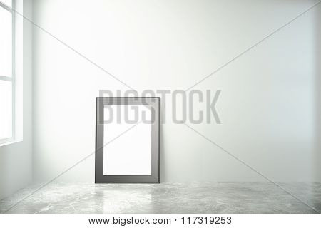 Blank Picture Frame In A White Room With Window And Concrete Floor, Mock Up