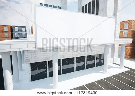 Shopping Center With Blank Billboard, Mock Up